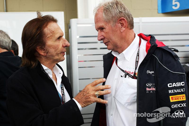 (L naar R): Emerson Fittipaldi, met Dr Helmut Marko, Red Bull Motorsport Consultant
