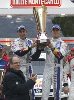 Prince Albert II with winners Sébastien Ogier and Julien Ingrassia, Volkswagen Polo WRC, Volkswagen Motorsport