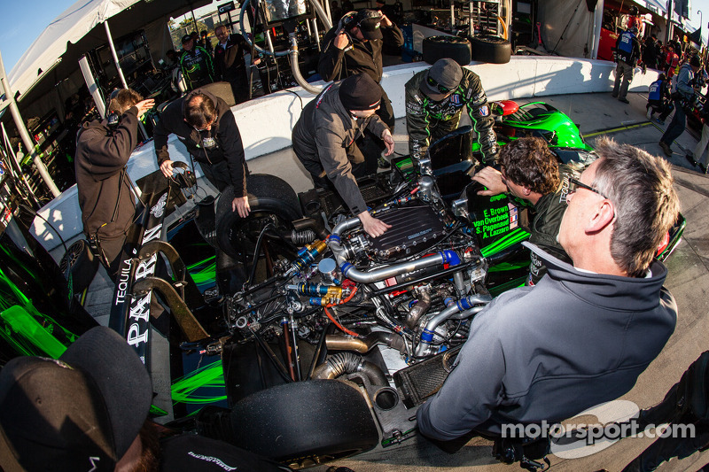 Extreme Speed Motorsports team members at work on the Honda engine