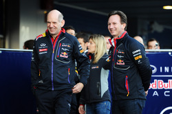 (L to R): Adrian Newey, Red Bull Racing Chief Technical Officer and Christian Horner, Red Bull Racing Team Principal at the unveiling of the Red Bull Racing RB10