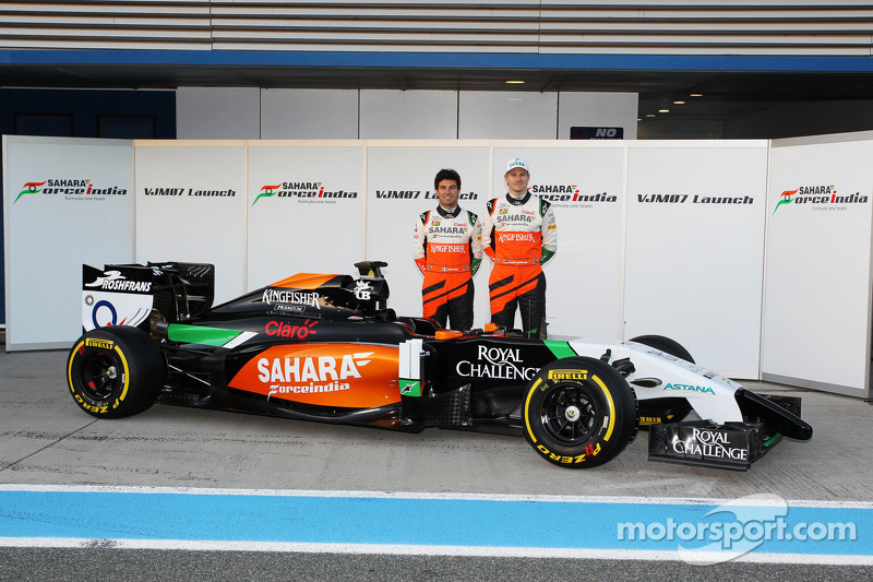 (L to R): Sergio Perez, Sahara Force India F1 and team mate Nico Hulkenberg, Sahara Force India F1 a