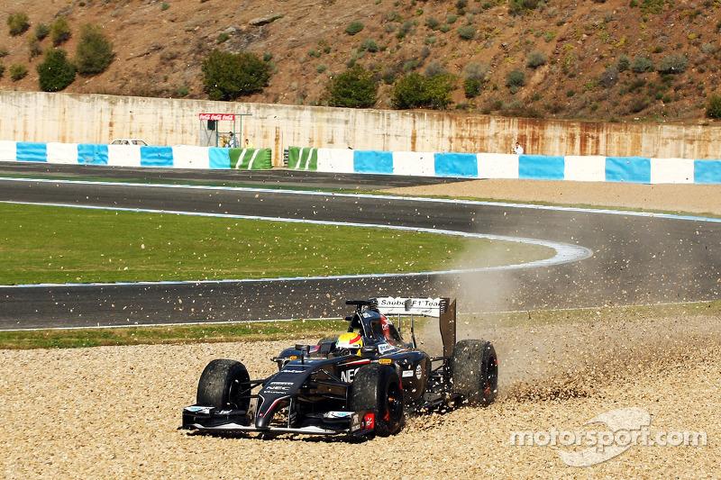 Sergio Pérez, Sahara Force India F1 VJM07 se va a la grava