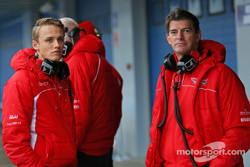 (L to R): Max Chilton, Marussia F1 Team with Graeme Lowdon, Marussia F1 Team Chief Executive Officer
