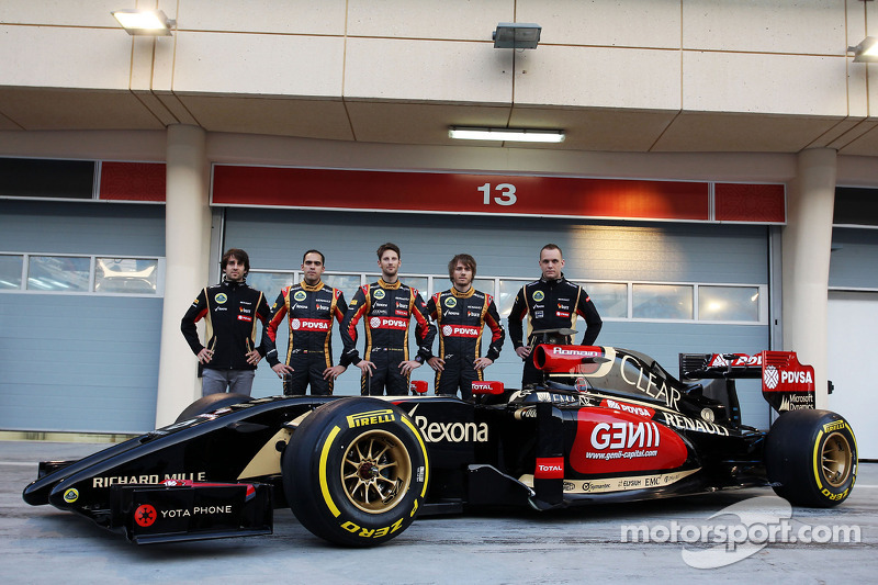 (L to R): Nicolas Prost, Charles Pic, with Romain Grosjean, Lotus F1 Team and team mate Pastor Maldo