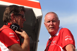 Graeme Lowdon, Marussia F1 Team Chief Executive Officer and John Booth, Marussia F1 Team Team Principal