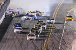 Wreck coming to the checkered flag