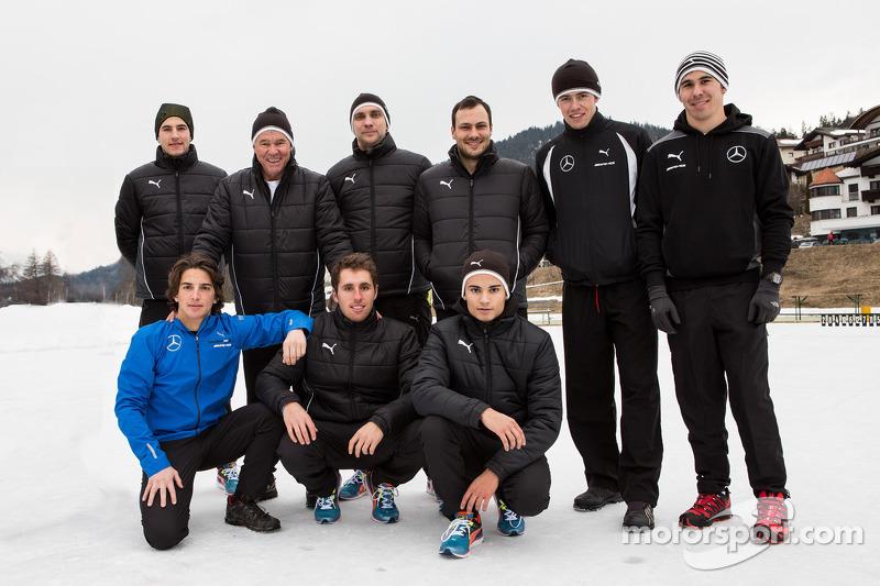2014 piloti Mercedes DTM a Camp Seefeld per l'allenamento invernale: Paul, Di Resta, Gary Paffett, P