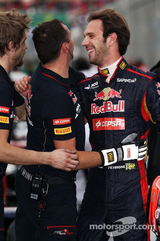 Jean-Eric Vergne, Scuderia Toro Rosso festeggia nel parco chiuso