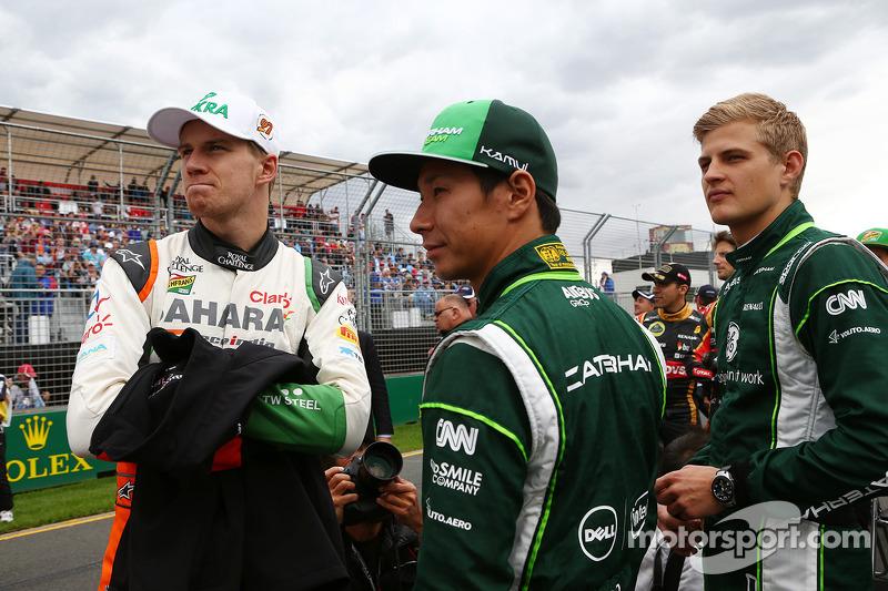 (L to R): Nico Hulkenberg, Sahara Force India F1 with Kamui Kobayashi, Caterham and Marcus Ericsson,