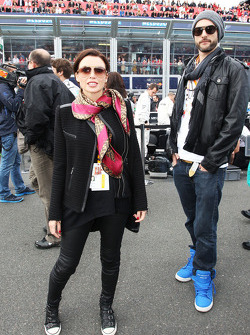 Dannii Minogue, with boyfriend Adrian Newman on the grid
