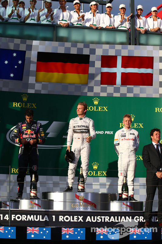 1st place Nico Rosberg, Mercedes AMG F1 W05, 2nd place Daniel Ricciardo, Red Bull Racing RB10 and 3r