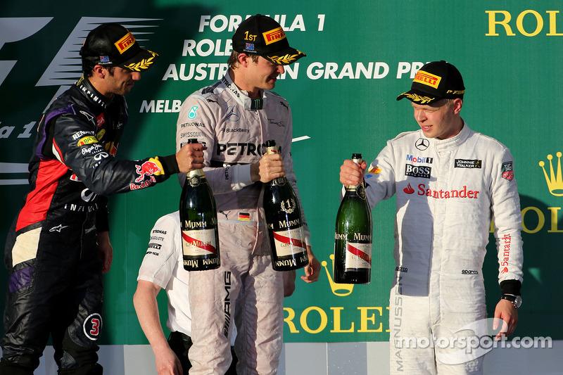 Daniel Ricciardo, Red Bull Racing, Nico Rosberg, Mercedes AMG F1 Takımı ve Kevin Magnussen, McLaren F1