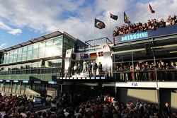 Podium: 2. Daniel Riciardo, Red Bull Racing, 1. Nico Rosberg, Mercedes AMG F1, 3. Kevin Magnussen, McLaren
