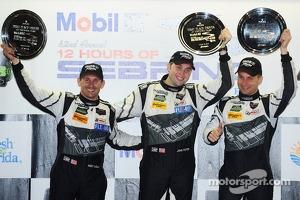 GTD class podium: winners John Potter, Andy Lally, Marco Seefried