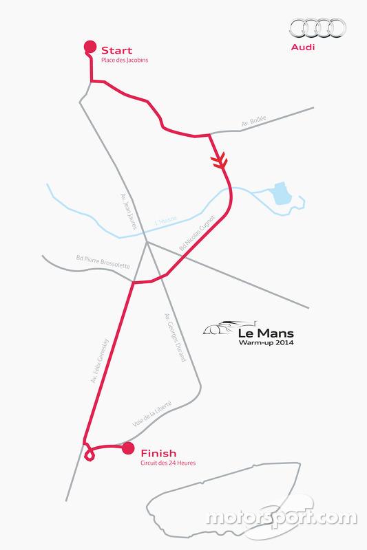 Il percorso che Tom Kristensen effettuerà guidando l'Audi R18 e-tron quattro dal centro di Le Mans al circuito della 24 ore