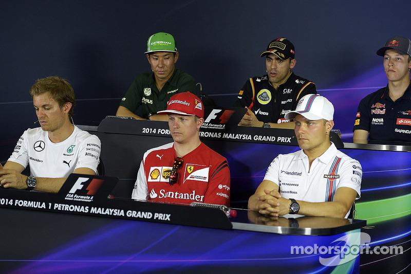 La conferenza stampa della FIA, Kamui Kobayashi, Caterham; Pastor Maldonado, Lotus F1 Team; Nico Rosberg, Mercedes AMG F1; Kimi Raikkonen, Ferrari; Valtteri Bottas, Williams