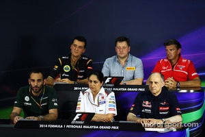 The FIA Press Conference: Federico Gastaldi, Lotus F1 Team Deputy Team Principal; Paul Hembery, Pirelli Motorsport Director; Graeme Lowdon, Marussia F1 Team Chief Executive Officer; Cyril Abiteboul, Caterham F1 Team Principal; Monisha Kaltenborn, Sauber T