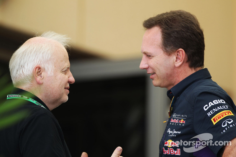 (L to R): Norbert Vettel, with Christian Horner, Red Bull Racing Team Principal