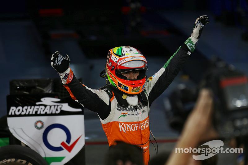 Sergio Perez, Sahara Force India F1, festeggia il terzo posto nel parco chiuso