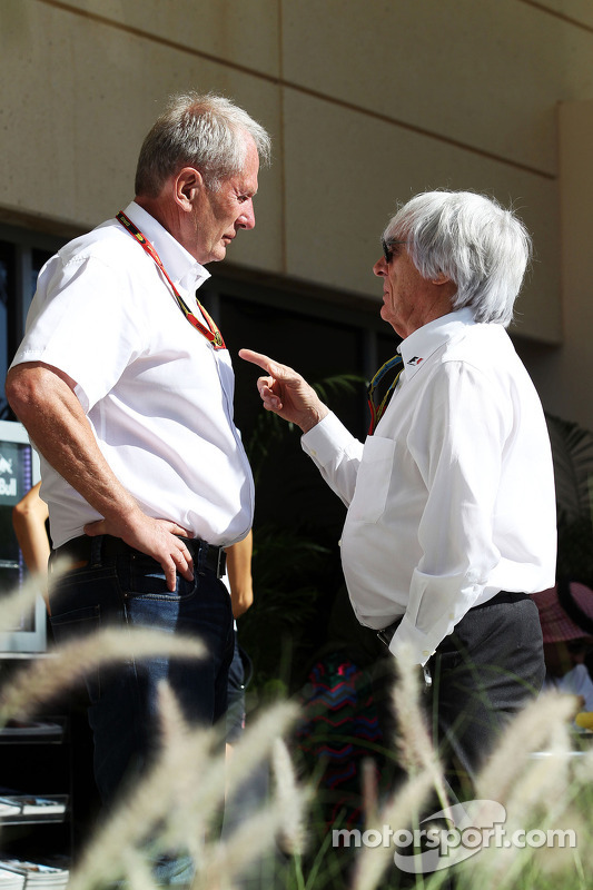 (L to R): Dr Helmut Marko, Red Bull Motorsport Consultant with Bernie Ecclestone (GBR)