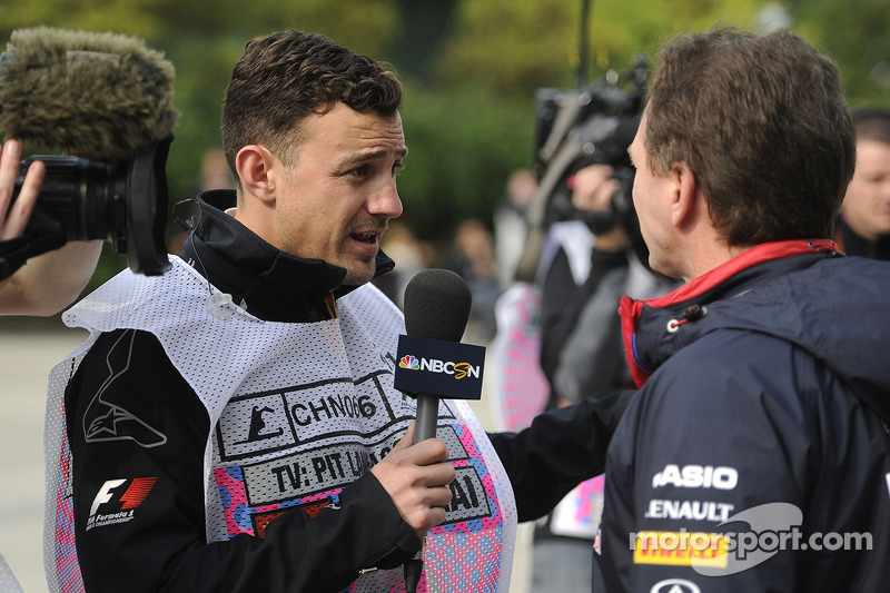 (L to R): Will Buxton, NBS Sports Network TV Presenter with Christian Horner, Red Bull Racing Team Principal