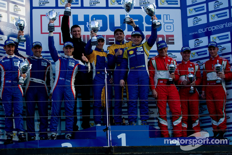 GTC podio: vincitori Andriy Kruglyk, Sergii Chukanov, Alessandro Pier Guidi, secondo posto Olivier B