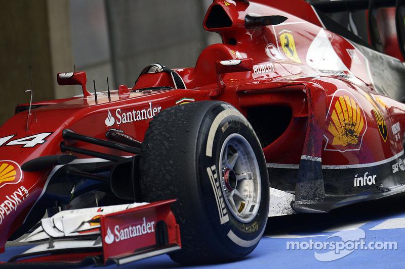 La F14-T Ferrari di Fernando Alonso, Ferrari in parco chiuso