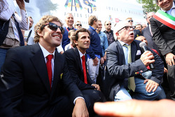 Commemoration ceremony at the Tamburello curve, Fernando Alonso and Pedro de la Rosa