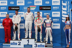 1st position Yvan Muller, Citroen C-Elysee WTCC, Citroen Total WTCC, 2nd position Jose Maria Lopez, Citroen C-Elysee WTCC, Citroen Total WTCC and 3rd position Tiago Monteiro, Honda Civic WTCC, Castrol Honda WTCC Team with Pasquale Di Sabatino, BMW 320 TC,
