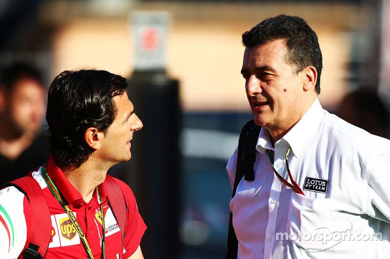 (L to R): Pedro De La Rosa, Ferrari Development Driver with Federico Gastaldi, Lotus F1 Team Deputy Team Principal