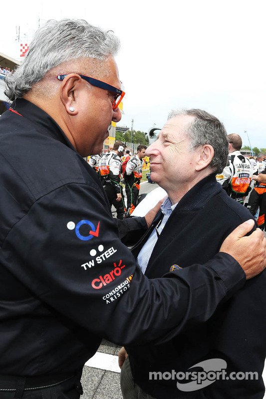 (L to R): Dr. Vijay Mallya, Sahara Force India F1 Team Owner with Jean Todt, FIA President on the gr