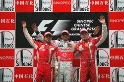Podium: second place Felipe Massa, Ferrari, Race winner Lewis Hamilton, McLaren, third place Kimi Raikkonen, Ferrari