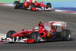 Fernando Alonso, Ferrari F10 leads Felipe Massa, Ferrari F10