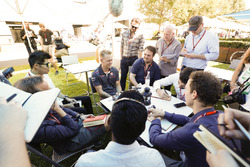 Kevin Magnussen, Haas F1 Team, meets with the media