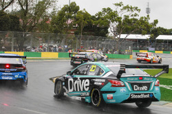 Cameron Waters, Tickford Racing Ford, leads Nick Percat, Brad Jones Racing Holden, and Michael Caruso, Nissan Motorsport Nissan