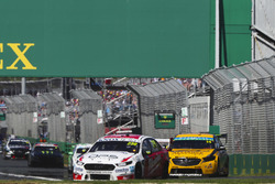 Will Davison, 23Red Racing Ford, leads Tim Slade, Brad Jones Racing Holden