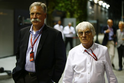 Bernie Ecclestone, CEO and President, FOM with Chase Carey of Liberty Media