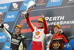 Podium: race winner Scott McLaughlin, DJR Team Penske Ford, second place David Reynolds, Erebus Motorsport Holden, third place Craig Lowndes, Triple Eight Race Engineering Holden