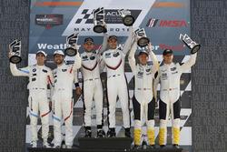 #912 Porsche Team North America Porsche 911 RSR, GTLM: Laurens Vanthoor, Earl Bamber, podio, #25 BMW Team RLL BMW M8, GTLM: Alexander Sims, Connor de Phillippi, #3 Corvette Racing Chevrolet Corvette C7.R, GTLM: Antonio Garcia, Jan Magnussen