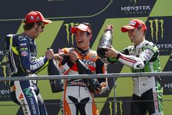 Race winner Marc Marquez, second place Valentino Rossi, third place Alvaro Bautista