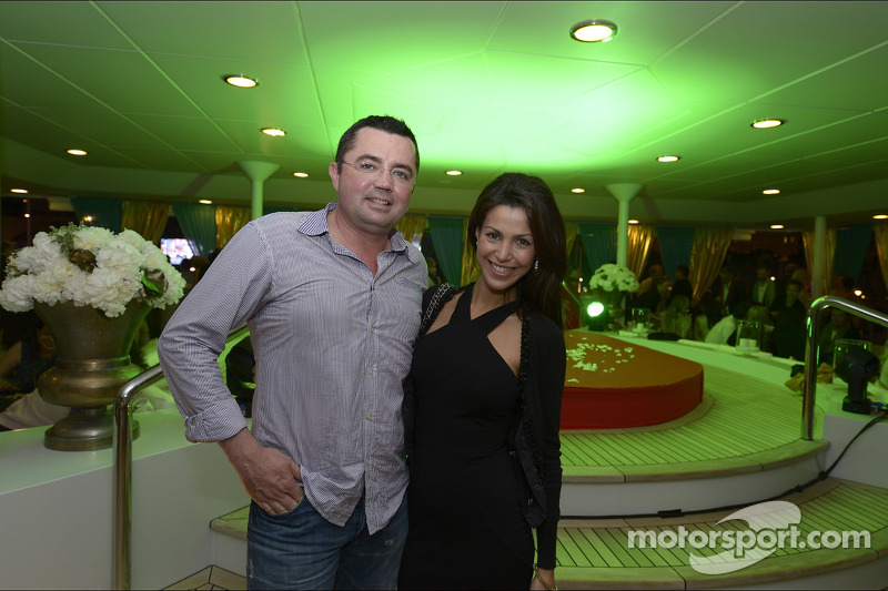 Eric Boullier, McLaren Racing Director with his wife Tamara at the Signature Monaco Party on the Indian Empress Boat