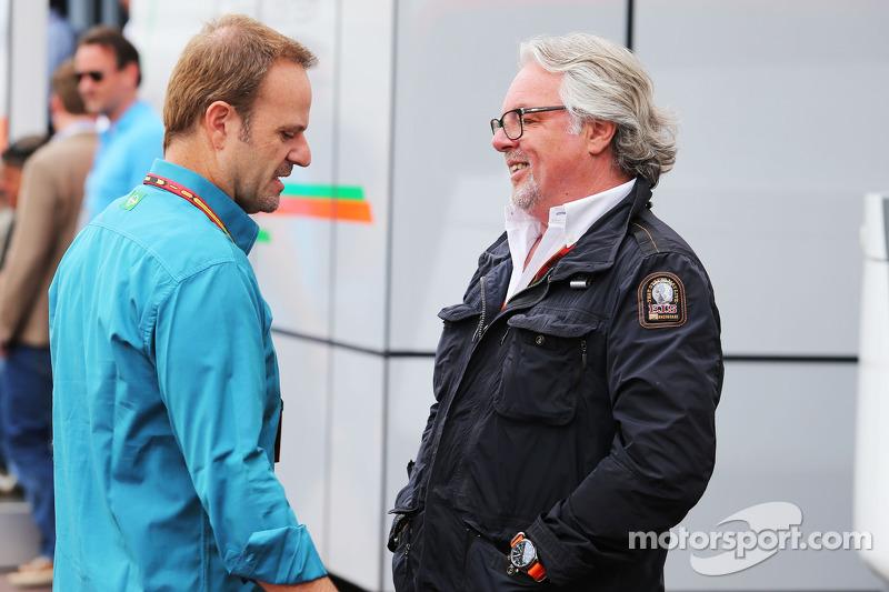 (L to R): Rubens Barrichello, with Keke Rosberg
