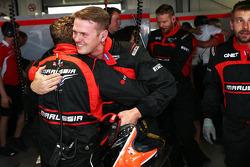 Celebración del Marussia F1 Team Jules Bianchi, anotar sus primeros puntos en F1