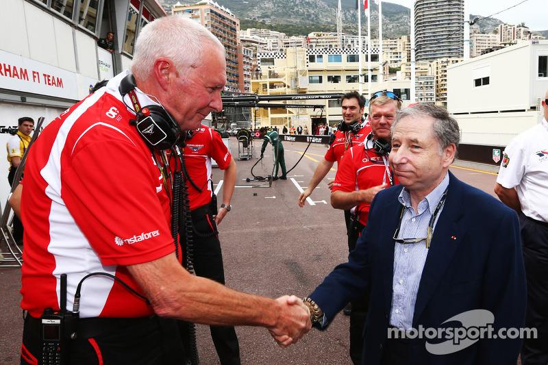 (L to R): John Booth, Marussia F1 Team Team Principal and Jean Todt, FIA President celebrate Jules B