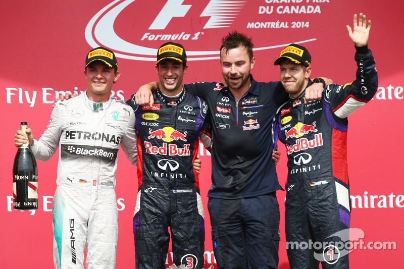 Daniel Ricciardo, Nico Rosberg and Sebastian Vettel on the podium
