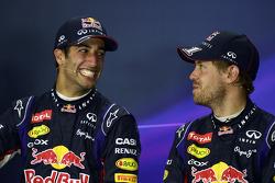 (L to R): Race winner Daniel Ricciardo, Red Bull Racing with team mate Sebastian Vettel, Red Bull Ra