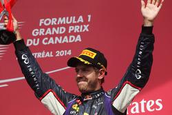 Sebastian Vettel, Red Bull Racing celebrates his third position on the podium