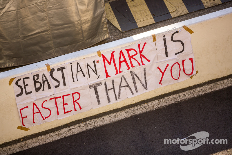 Fans left this sign in pit lane following the 24 Hours of Le Mans podium on Sunday