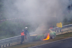 Vintage car on fire at Pflantzgarten minutes before the start of the Top-30 qualifying session