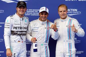 Polesitter Felipe Massa, second place Valtteri Bottas, third place Nico Rosberg